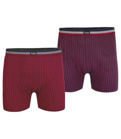 Pack of 2 Men's Striped Boxer Shorts - Red Navy