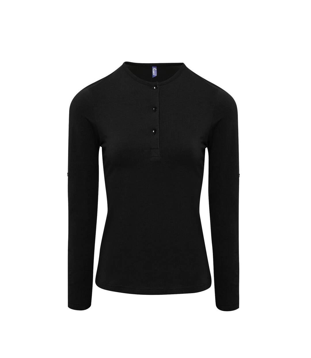 Dégagement T-shirt henley manches retroussables Femme PR318 noir dsf.d455nksdKLFHG