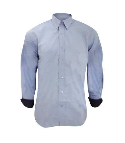 Kustom Kit Mens Long Sleeve Contrast Premium Oxford Shirt (Light Blue/Navy) - UTBC1445