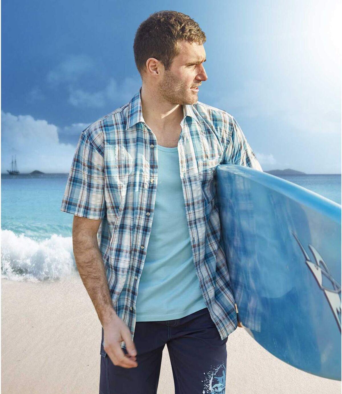 Men's Blue Lagoon Cotton Waffle Shirt Atlas For Men