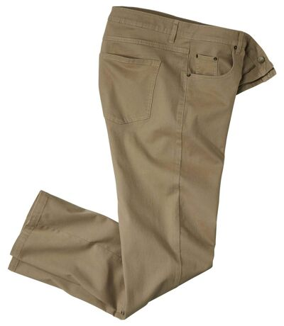 Men's Beige Regular Stretch Twill Pants