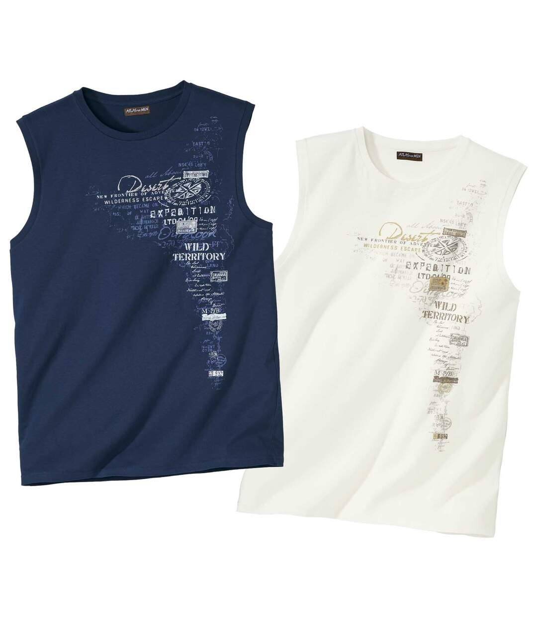 Pack of 2 Men's Vests - Navy Off-White