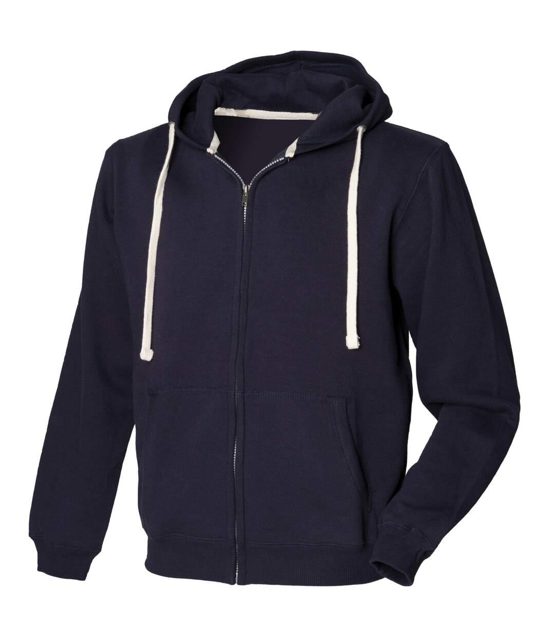Front Row Mens Zip Through Hooded Sweatshirt / Hoodie (Navy) - UTRW506