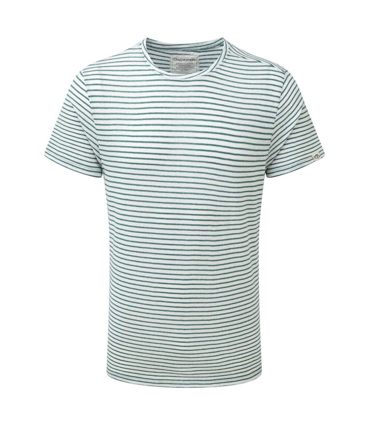 Craghoppers Bernard - T-shirt été à rayures - Homme (Vert lac) - UTCG224