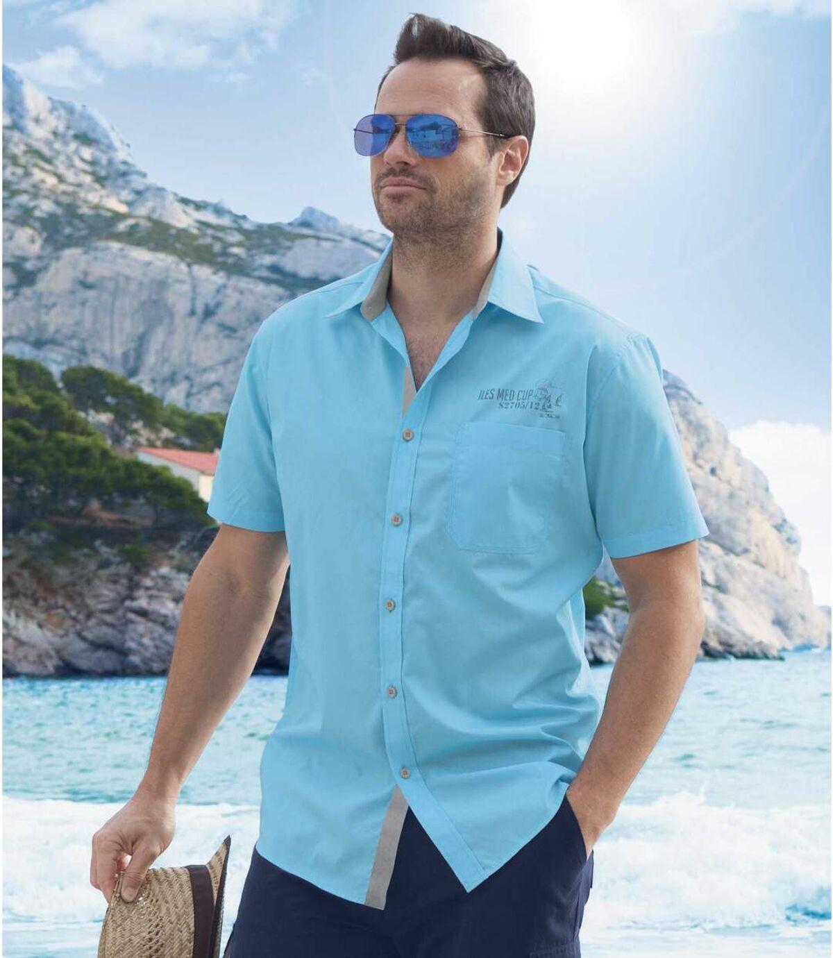 Men's Turquoise Short Sleeve Shirt Atlas For Men