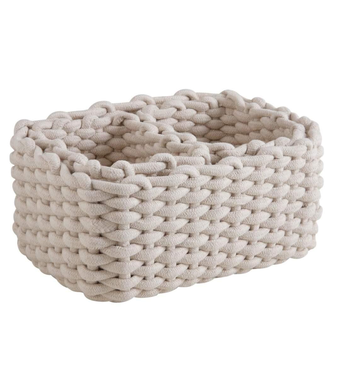 Corbeille rectangulaire en corde coton (Lot de 3)