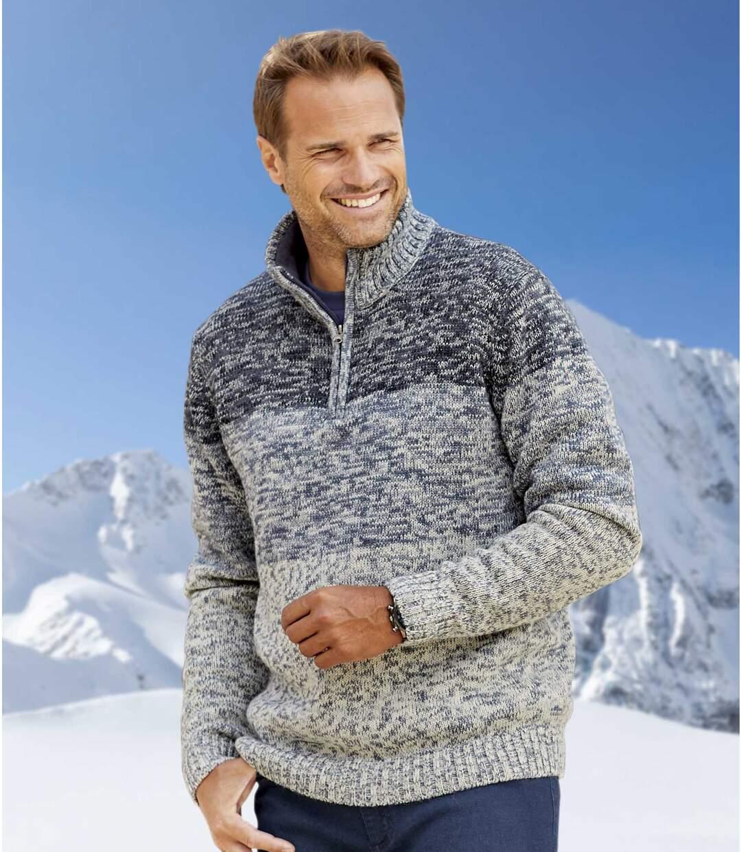 Melírovaný pulovr se zipovým zapínáním ukrku