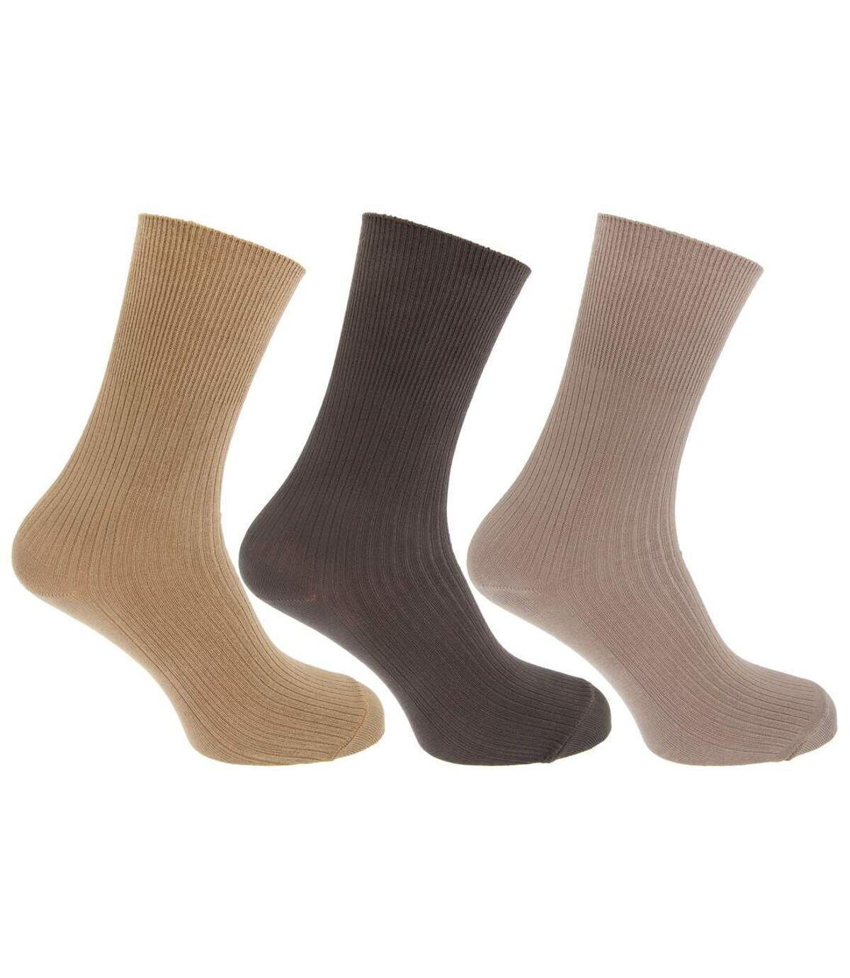 Mens Casual Non Elastic Bamboo Viscose Socks (Pack Of 3) (Cream/Beige/Brown) - UTMB376