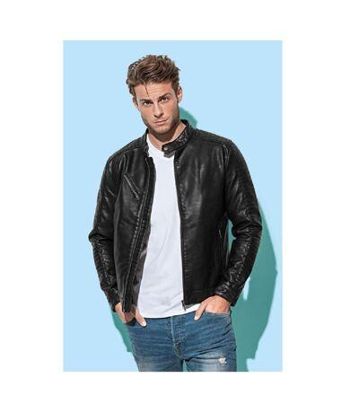Stedman Mens Active Biker Jacket (Black Opal) - UTAB309