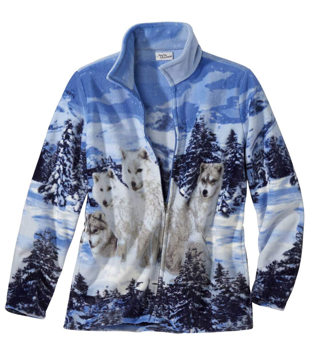 Fleece-Jacke mit Wolfsmotiv