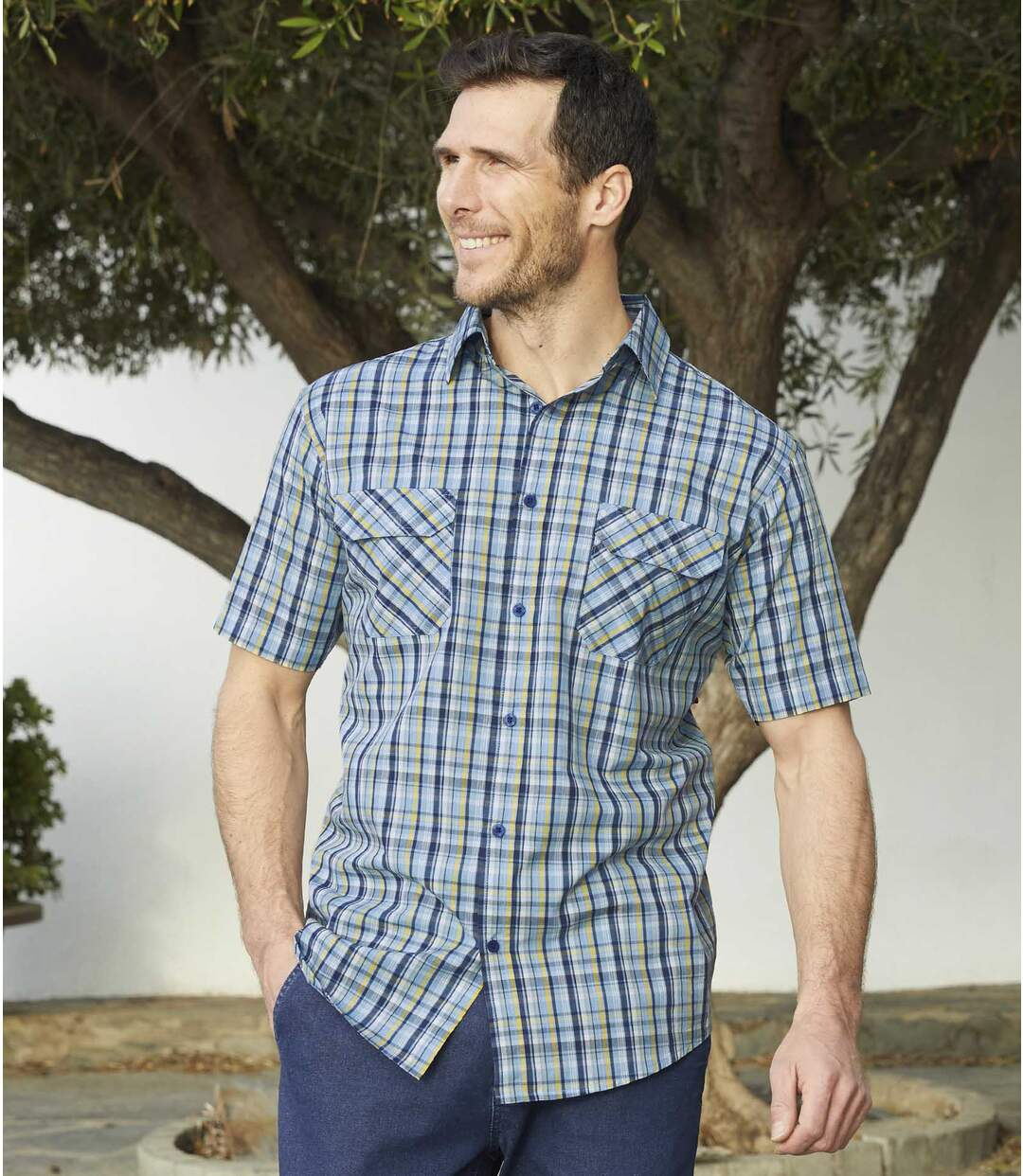 Men's Blue Checked Summer Shirt