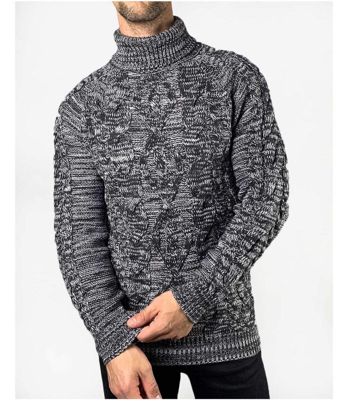 Pull gris chiné moucheté noir à col roulé et maille hiver torsadée pour homme