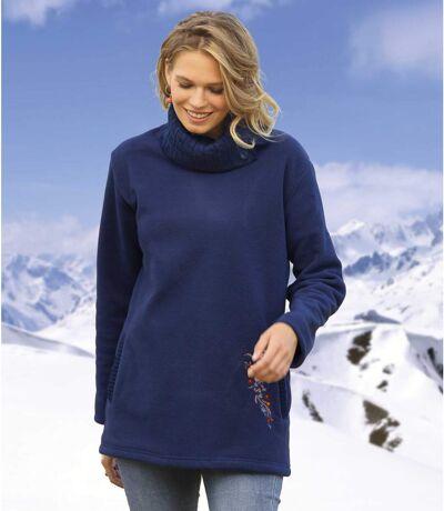 Women's Navy Fleece-Lined Knitted Sweater