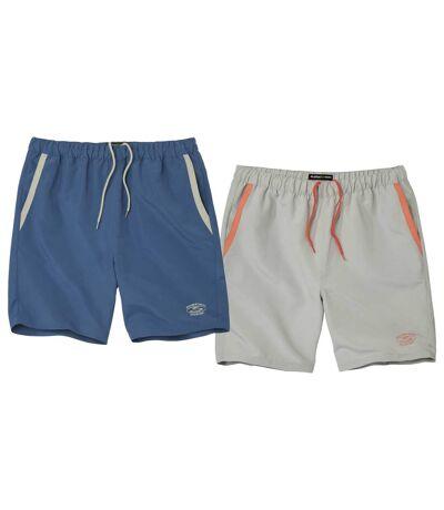 Pack of 2 Men's Summer Shorts - Blue Grey