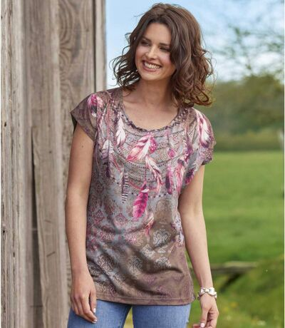 Women's Feather Print T-Shirt - Taupe