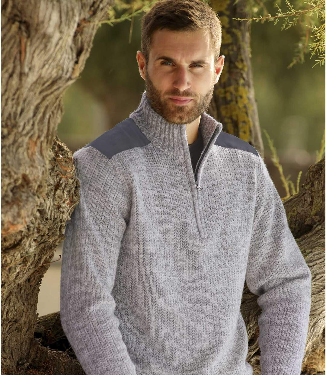 Men's Grey Knitted Funnel Neck Jumper