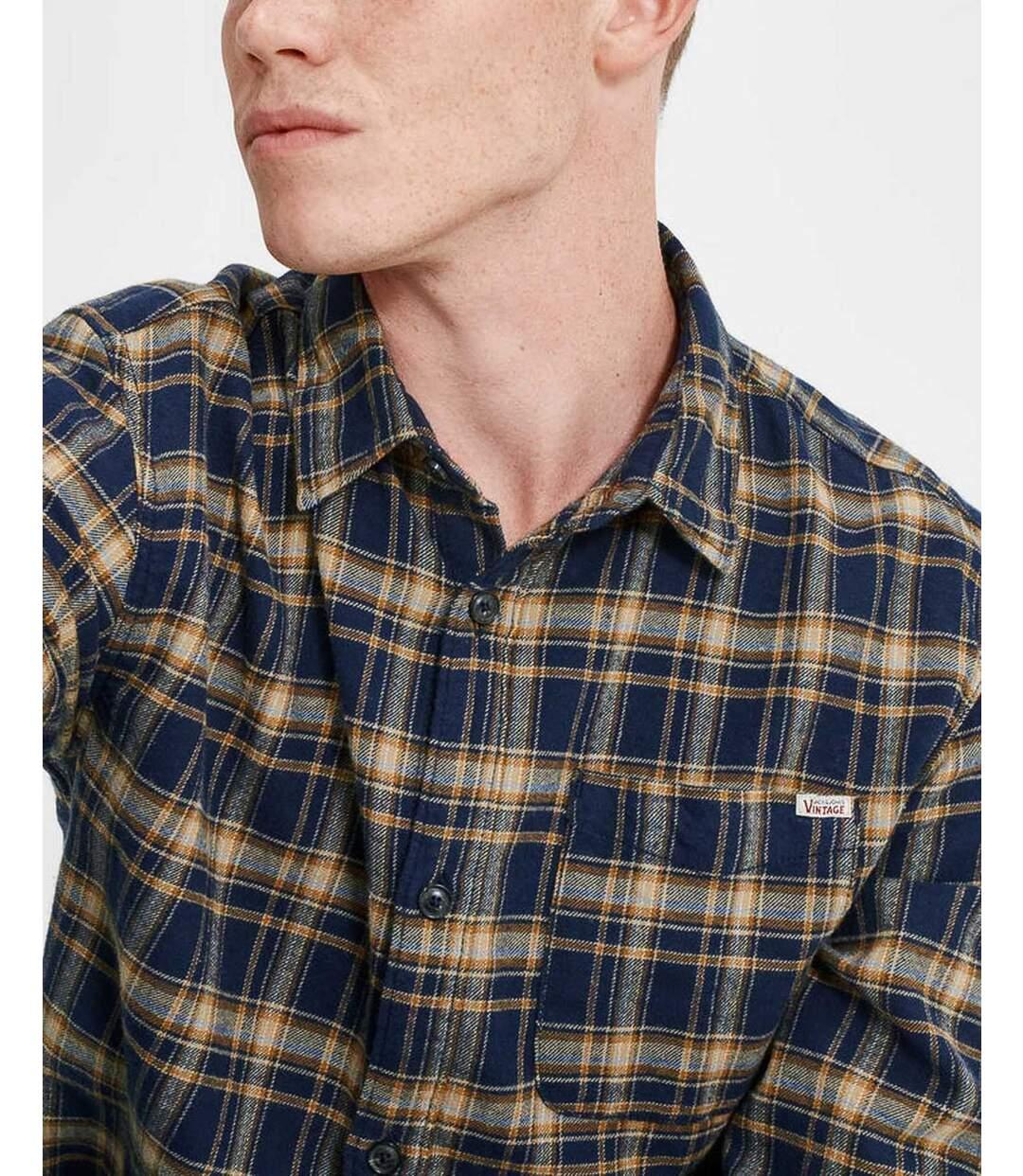 Chemise casual jaune et bleu à carreaux manches longues
