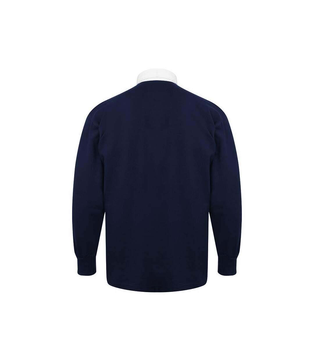 Dégagement Front Row Polo De Rugby À Manches Longues 100% Coton Homme Bleu marine/Blanc UTRW478 dsf.d455nksdKLFHG