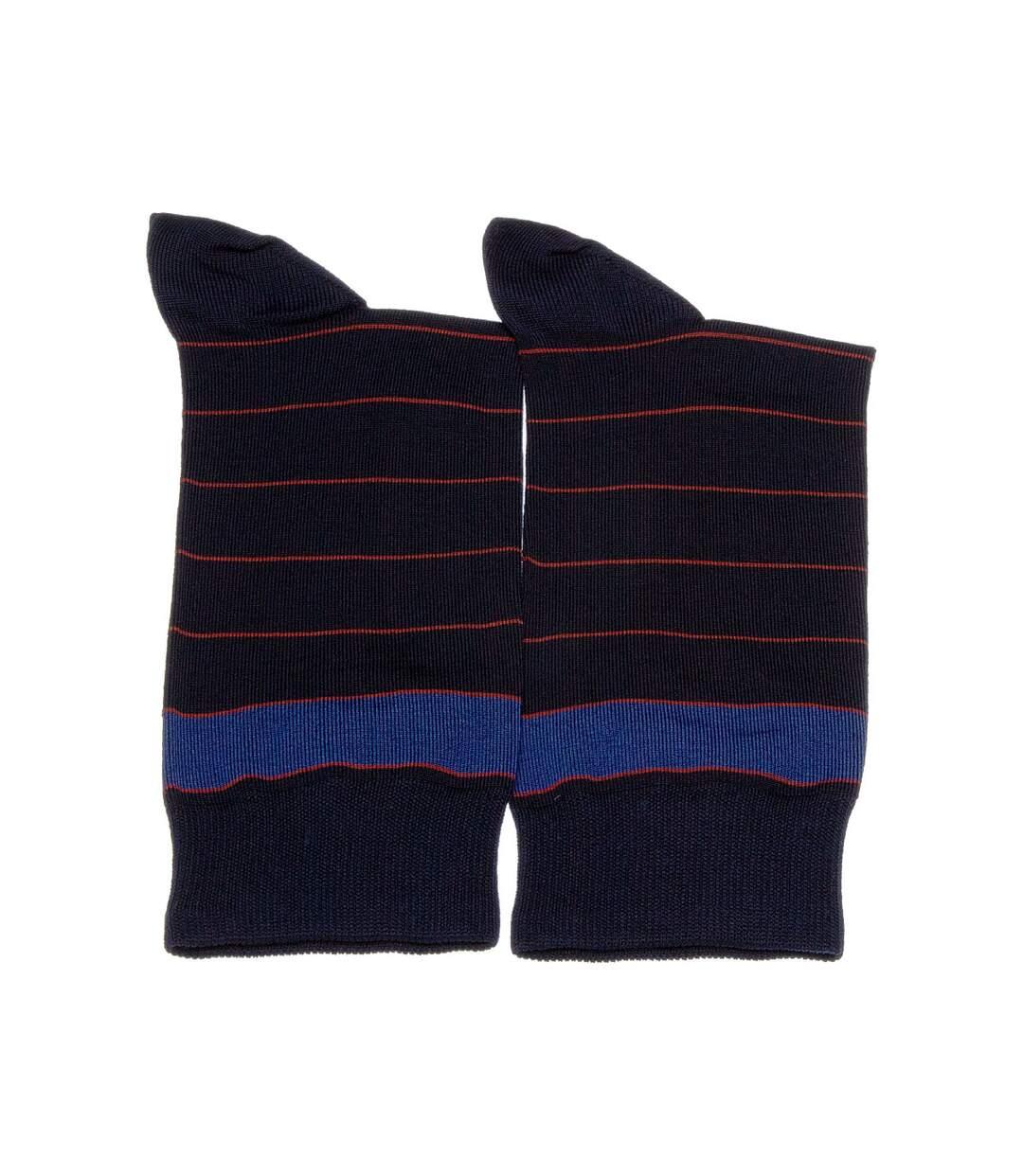 Dégagement Chaussette Niveau mollet 1 paire Sans bouclette Rayures Fine Coton Bleu marine Sphère dsf.d455nksdKLFHG