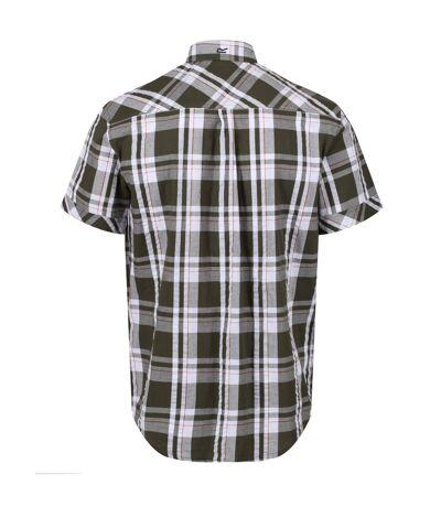 Regatta Mens Deakin III Short Sleeve Checked Shirt (White/Dehli Red/Check) - UTRG4053