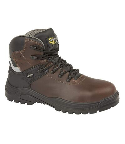 Grafters Mens Transporter Padded Ankle Mid Safety Boots (Dark Brown) - UTDF1309