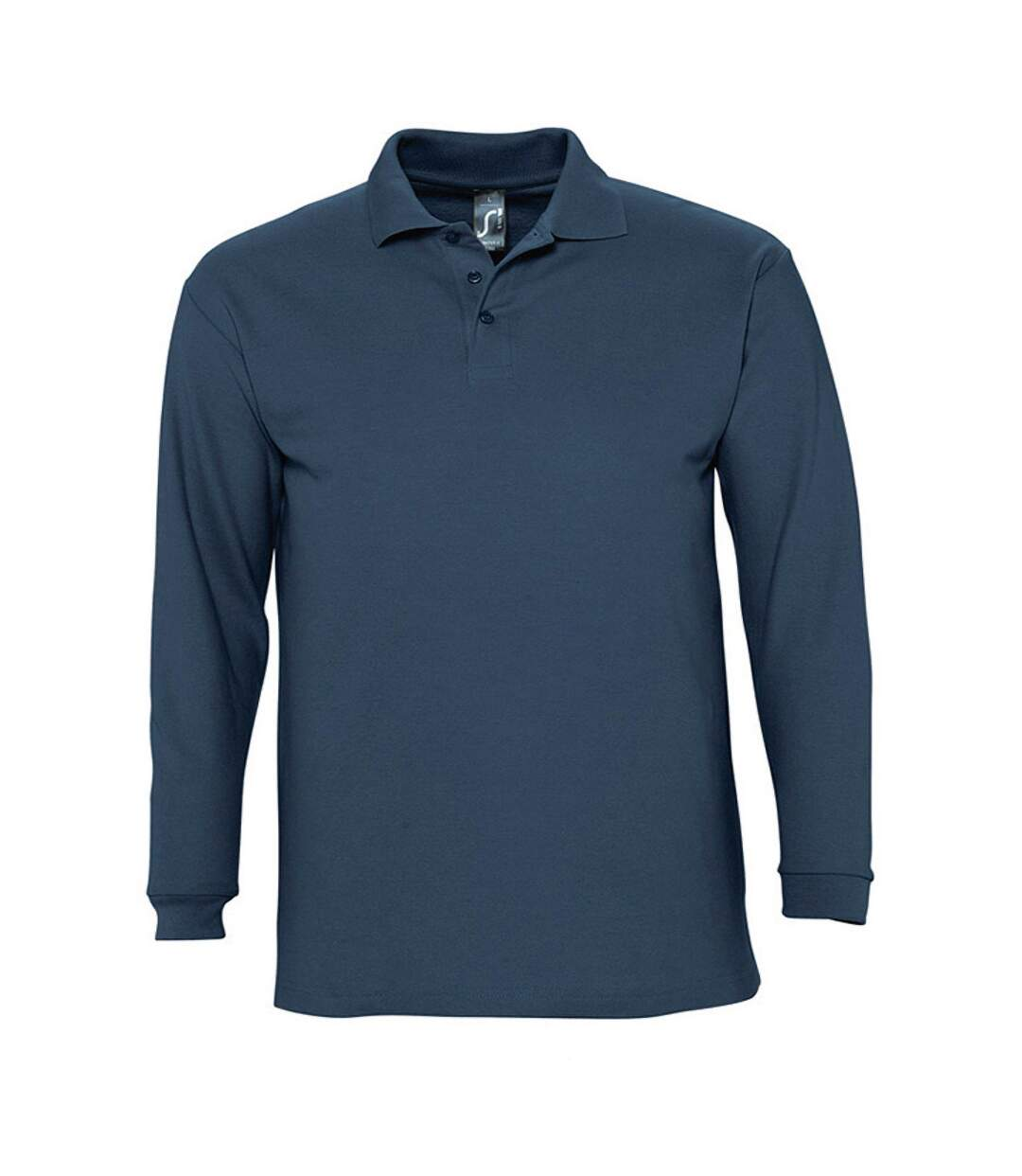 SOLS Mens Winter II Long Sleeve Pique Cotton Polo Shirt (Denim) - UTPC329