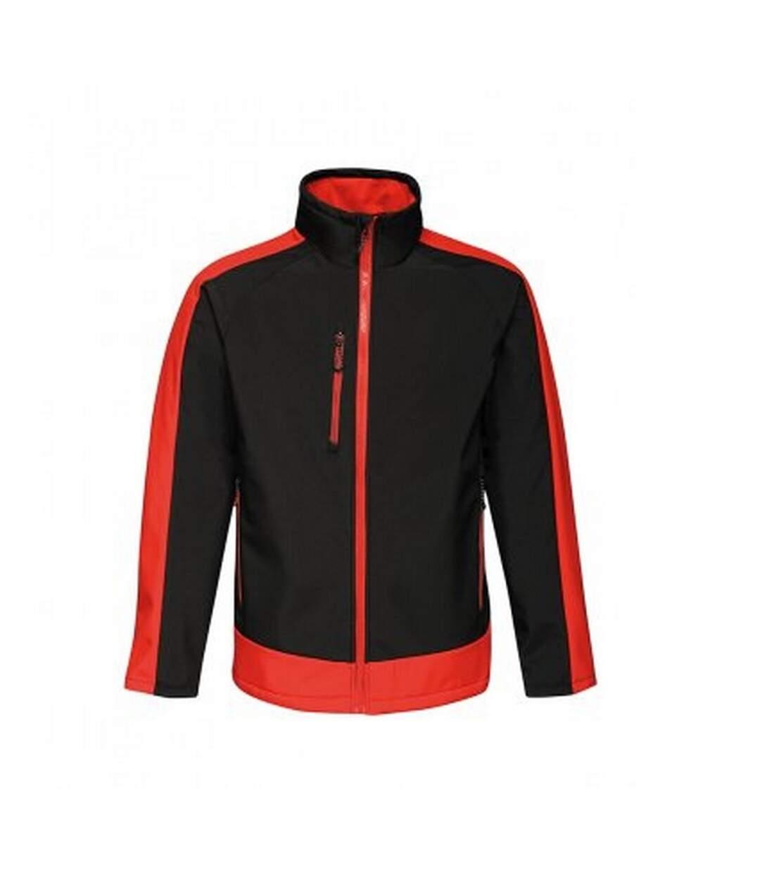Regatta  Mens Contrast Three Layer Printable Soft Shell Jacket (Black/Classic Red) - UTPC3318