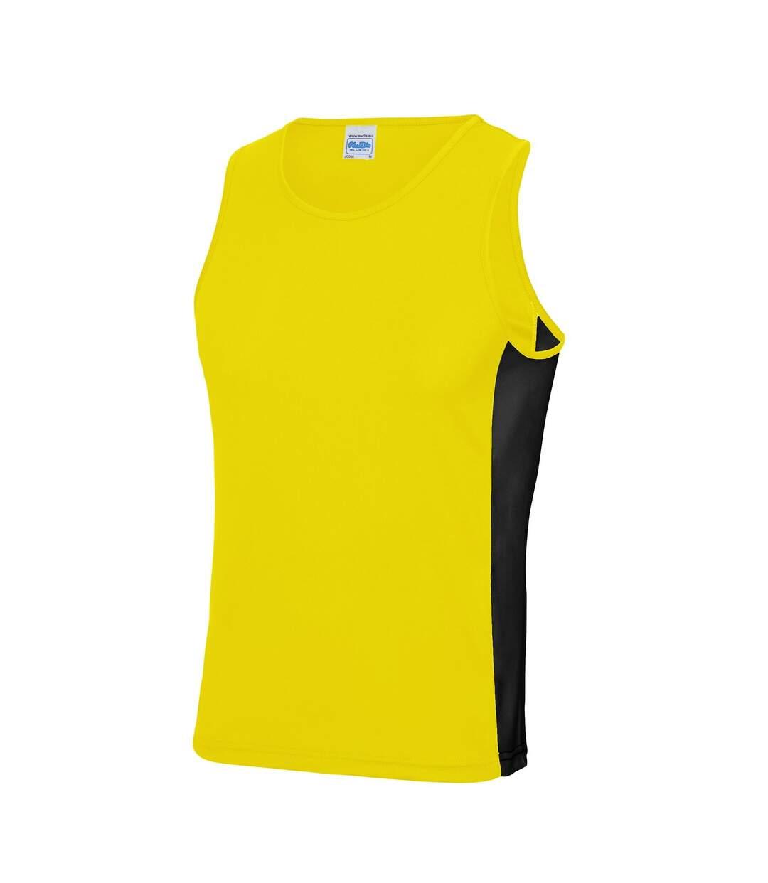 AWDis Mens Cool Contrast Vest (Sun Yellow/ Jet Black) - UTRW5723