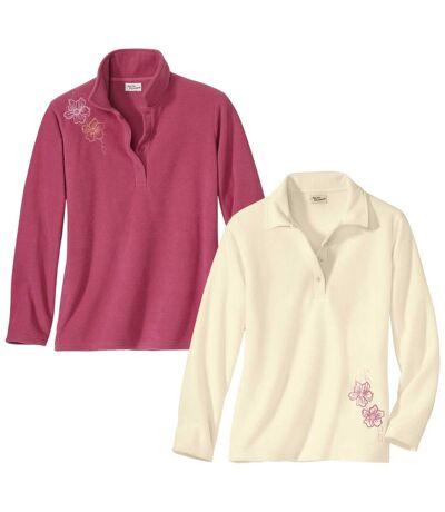 2er-Pack bestickte Poloshirts aus Microfleece