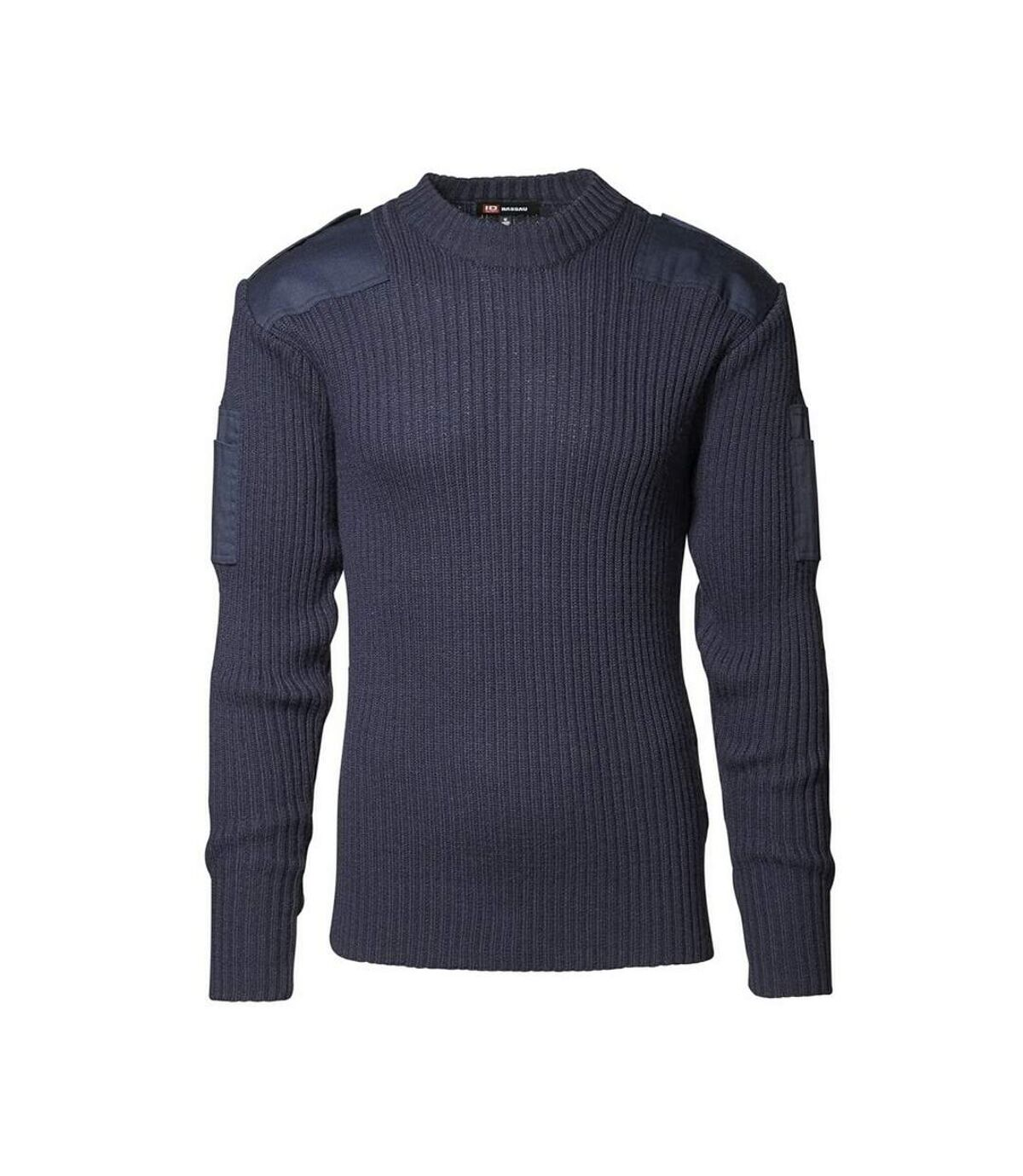 ID Mens Army Fitted Pullover With Patches (Navy) - UTID129