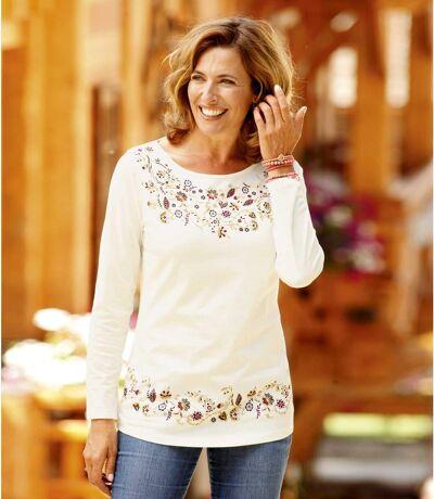 Women's Elegant Long Sleeve Floral Top
