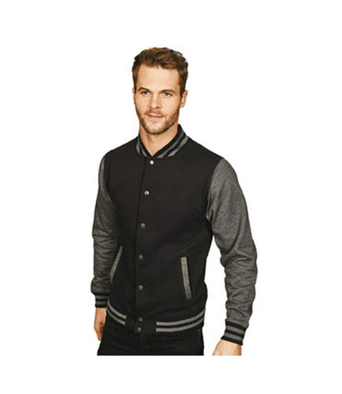 Casual Classic Mens Varsity Jacket (Black/Charcoal) - UTAB454