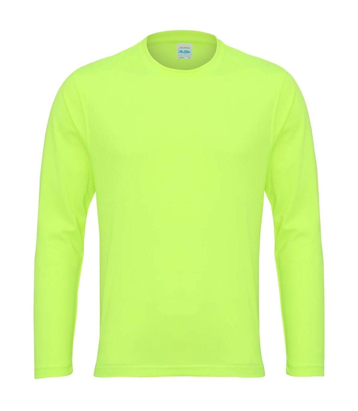 AWDis Just Cool Mens Long Sleeve Cool Sports Performance Plain T-Shirt (Electric Orange) - UTRW684
