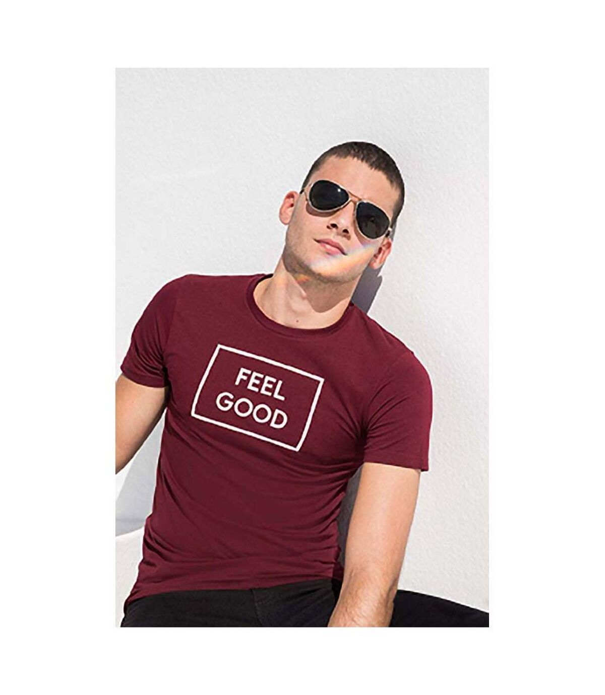 Skinni Fit - T-shirt manches courtes FEEL GOOD - Homme (Bordeaux) - UTRW4427