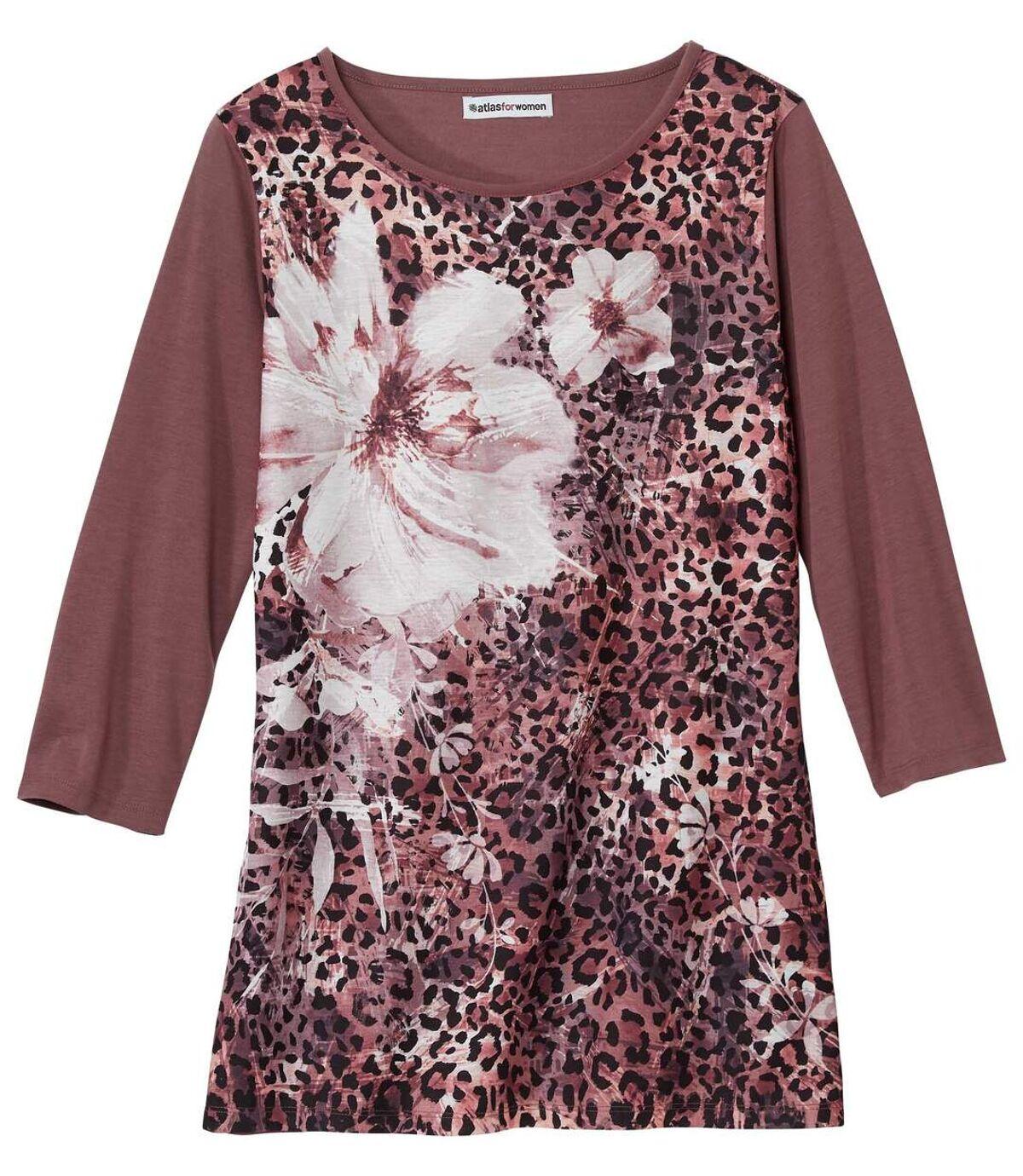 Women's Floral Leopard Print Top - Pink Atlas For Men