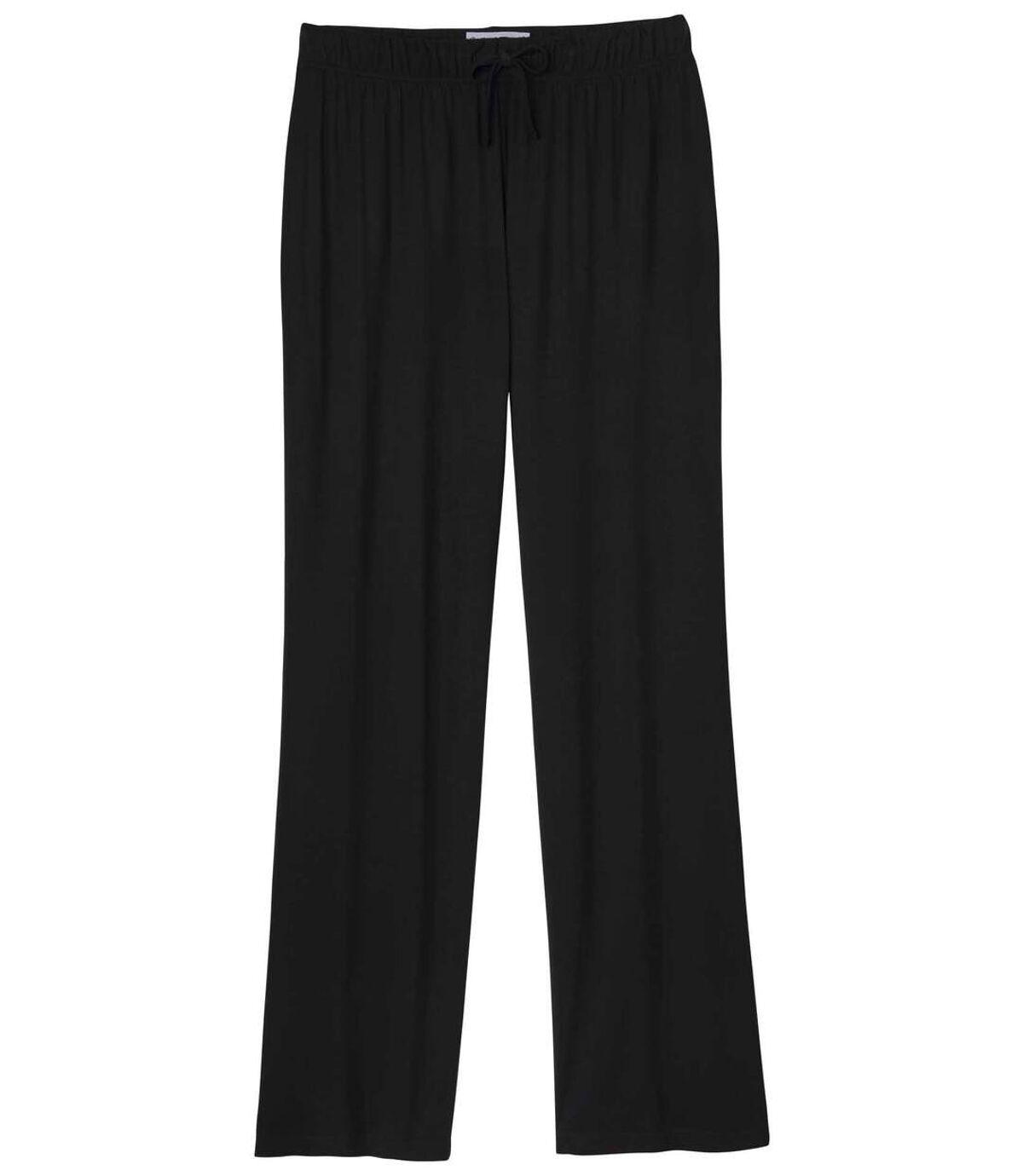 Women's Black Flowy Stretch Pants Atlas For Men