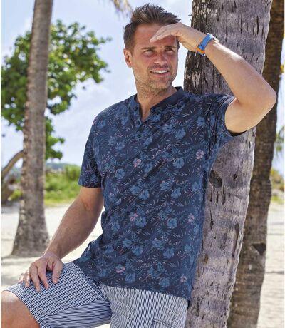 Men's Blue Exotic Print T-Shirt