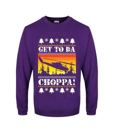 Grindstore Mens Get To Da Choppa Christmas Jumper (Purple) - UTGR1910