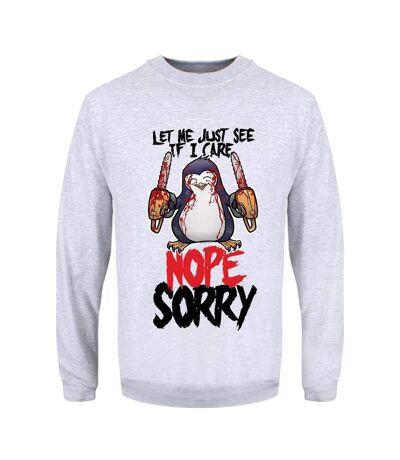 Psycho Penguin Mens Let Me Just See If I Care Sweatshirt (Grey) - UTGR2961