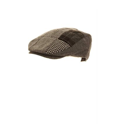Mens Patchwork Winter Flat Cap With Wool (Brown) - UTHA254