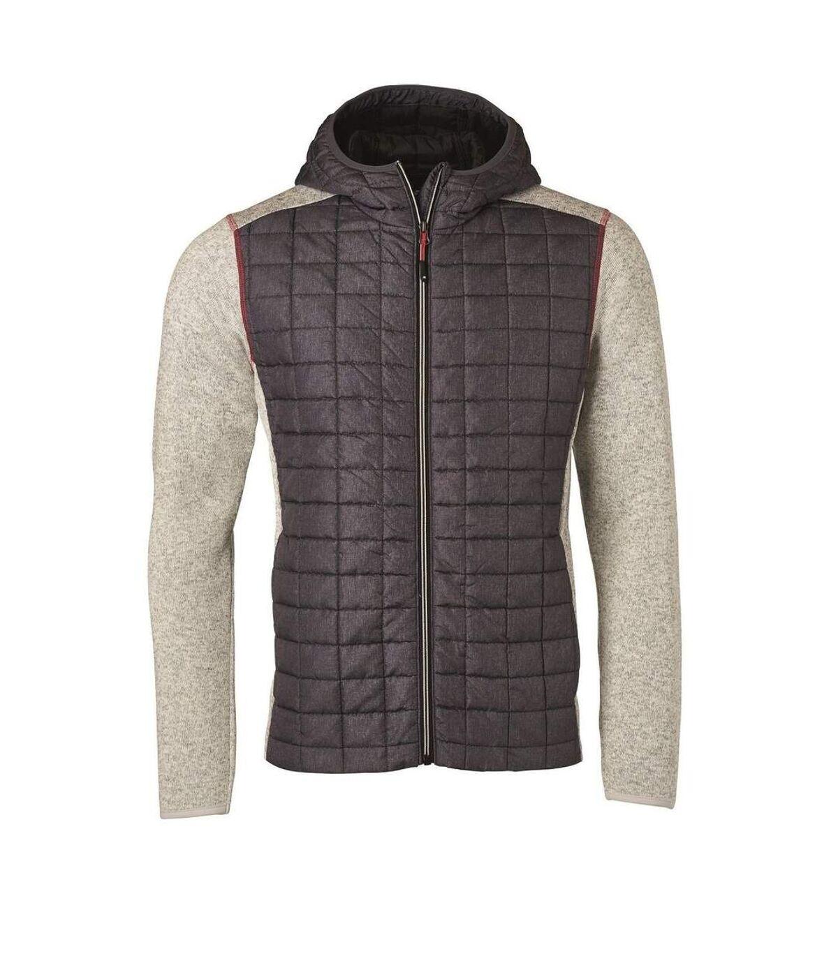 Veste tricot hybride matelassée - homme - JN772 - gris foncé gris clair mélange