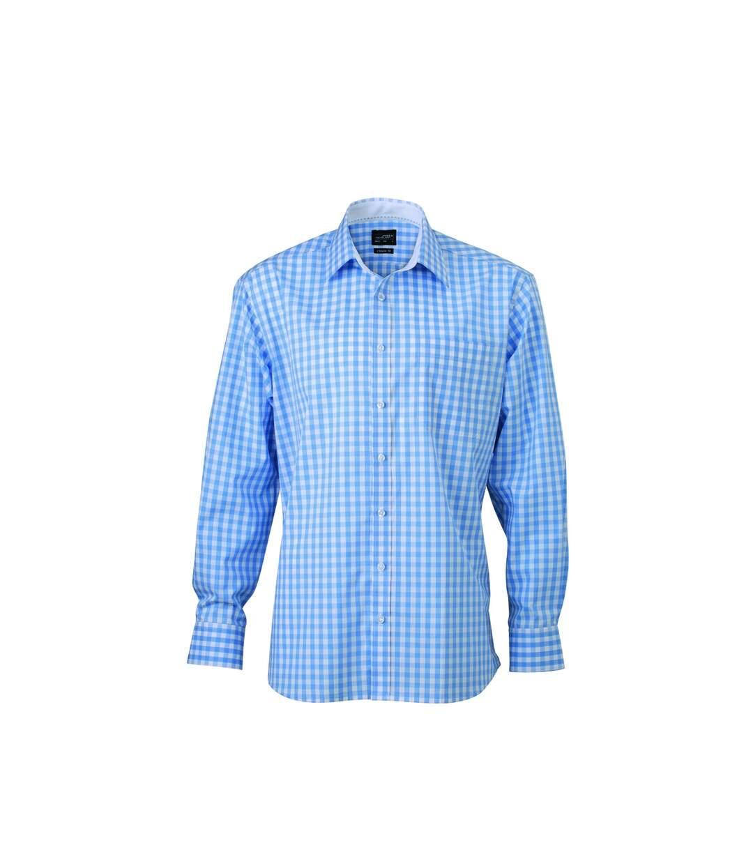 chemise manches longues carreaux vichy HOMME JN617 - bleu glacier