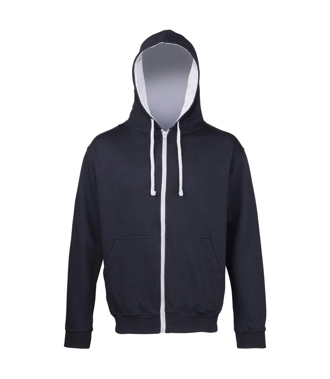 Awdis Mens Varsity Hooded Sweatshirt / Hoodie / Zoodie (Heather Grey/French Navy) - UTRW182