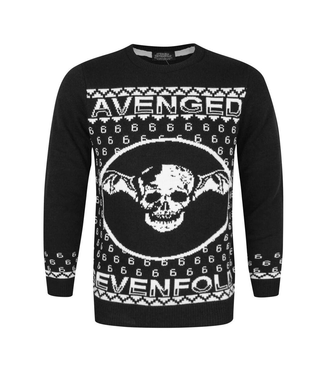 Avenged Sevenfold Unisex Adults Deathbat Christmas Jumper (Black) - UTNS4063