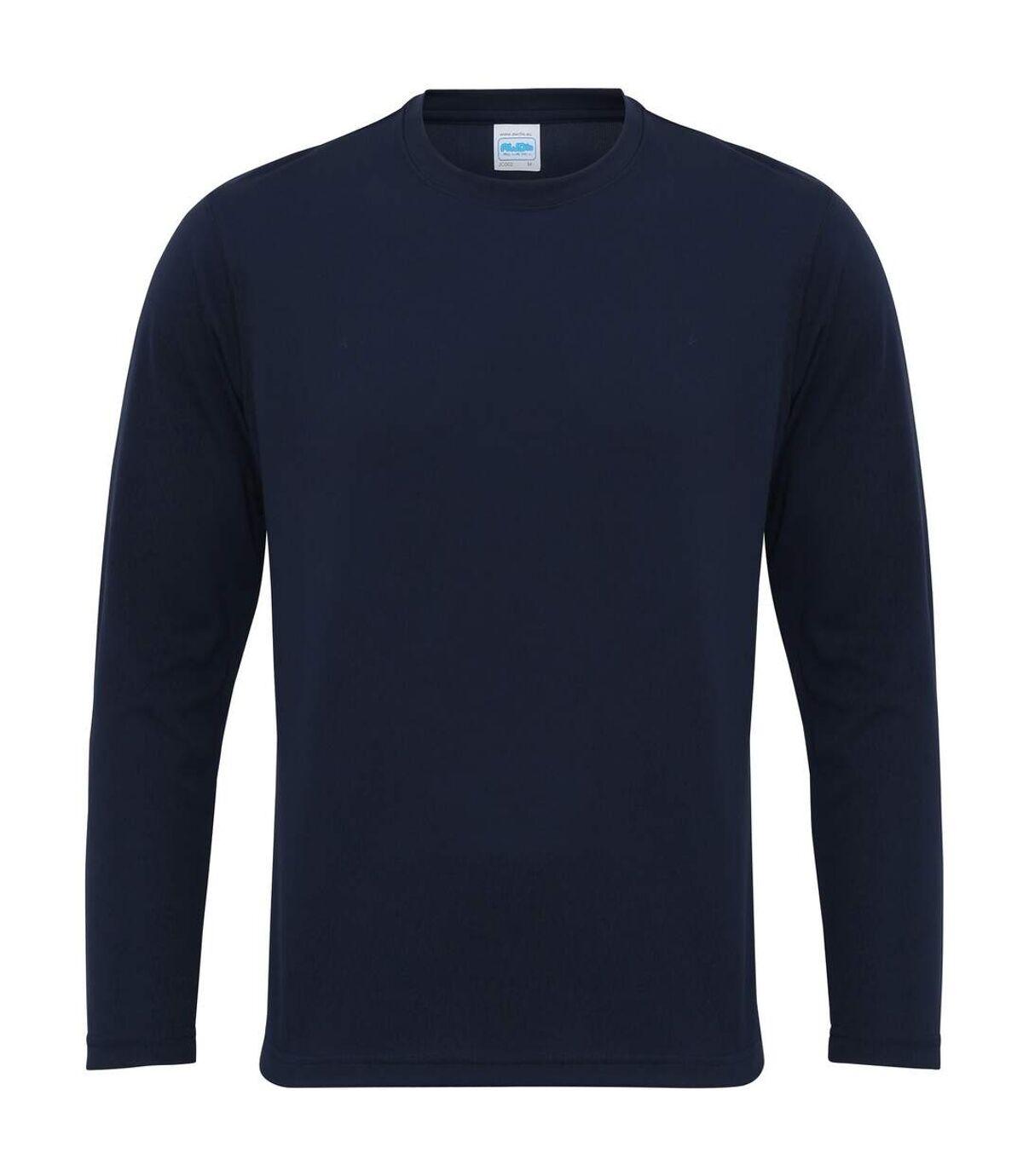 AWDis Just Cool Mens Long Sleeve Cool Sports Performance Plain T-Shirt (Arctic White) - UTRW684