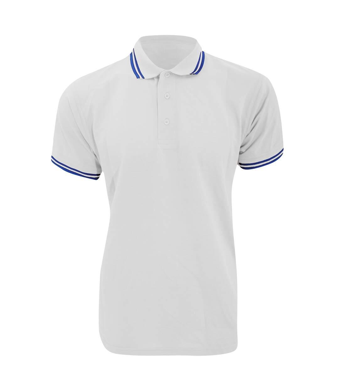Kustom Kit Mens Tipped Piqué Short Sleeve Polo Shirt (White/Navy) - UTBC613