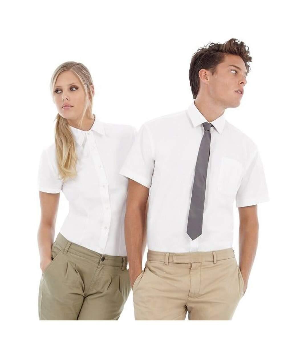 B&C Mens Sharp Twill Short Sleeve Shirt / Mens Shirts (White) - UTBC114