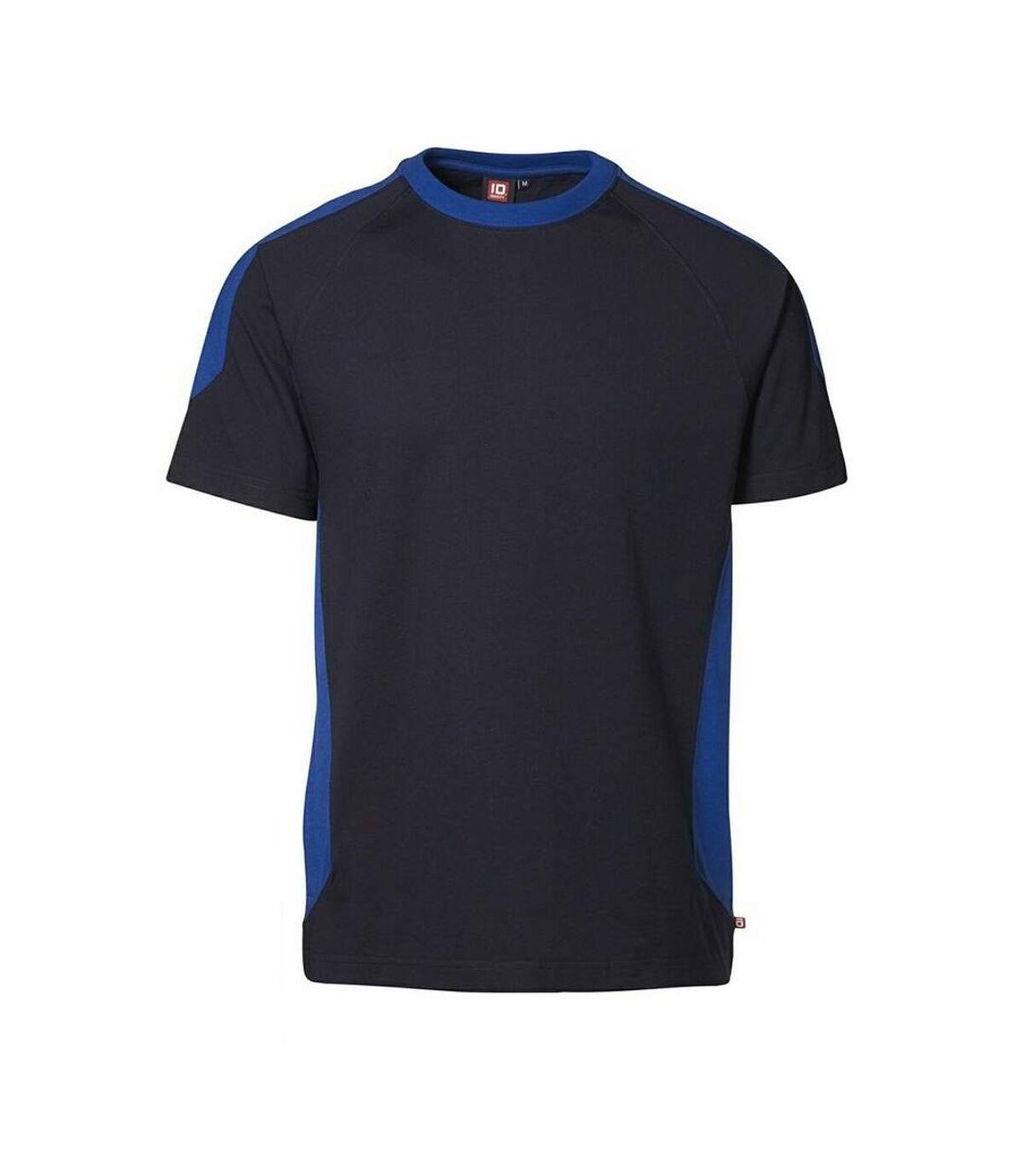 ID Mens Pro Wear Contrast Regular Fitting Short Sleeve Sports T-Shirt (Navy) - UTID366