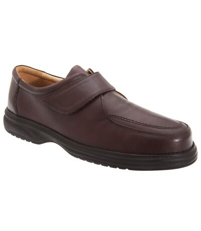 Roamers Mens Superlite Wide Fit Touch Fastening Leather Shoes (Brown) - UTDF119