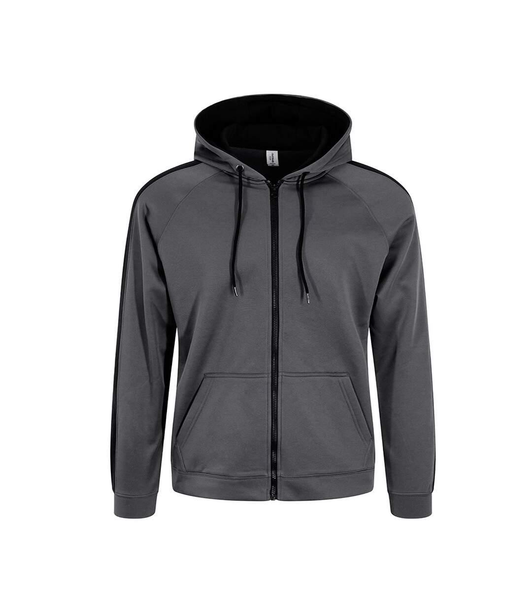 AWDis Just Hoods Mens Contrast Sports Polyester Full Zip Hoodie (Steel Grey/Jet Black) - UTPC2967